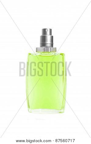 Perfume In Beautiful Blue Bottle Isolated On White