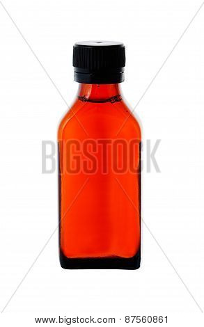 Close Up On A Medicine Bottle With Red Syrup Isolated On White Background