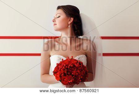 Bride Posing With Bouquet