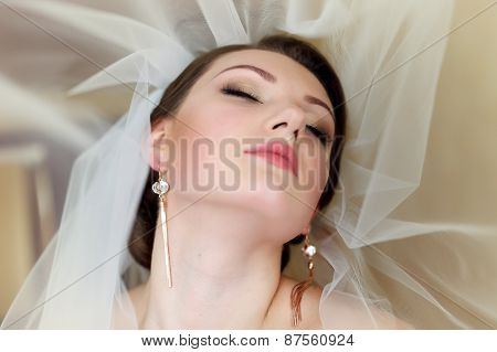 Portrait Of A Beautiful Bride With Bright Makeup