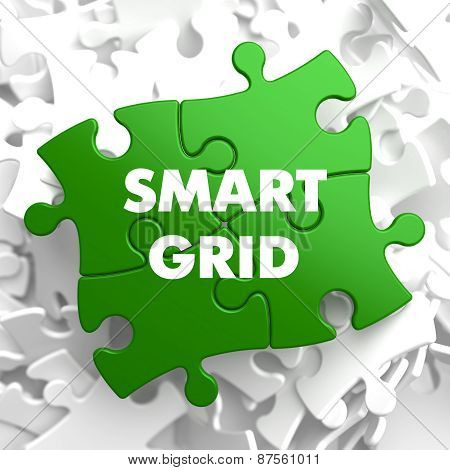 Smart Grid on Green Puzzle.