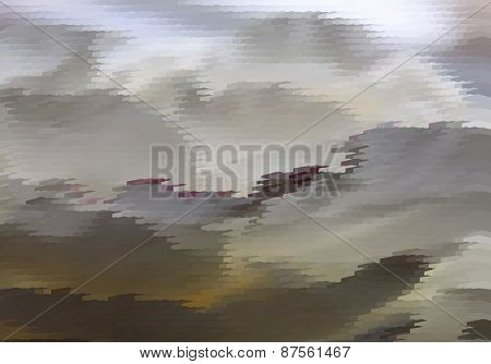 Abstract fantastic grey landscape