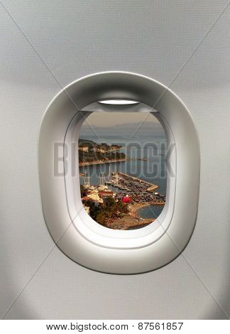 Looking Out The Window Of A Plane To The Baska Voda In Croatia