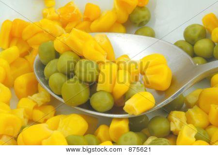 Green Peas And Sweetcorn Macro