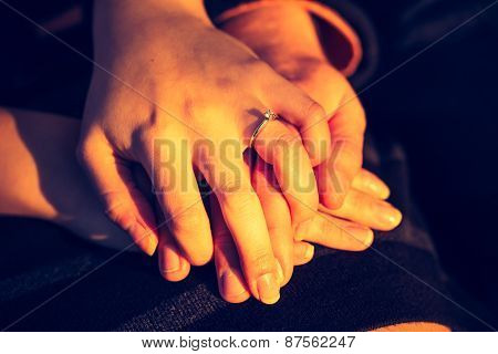 The Bride And Groom Hands.