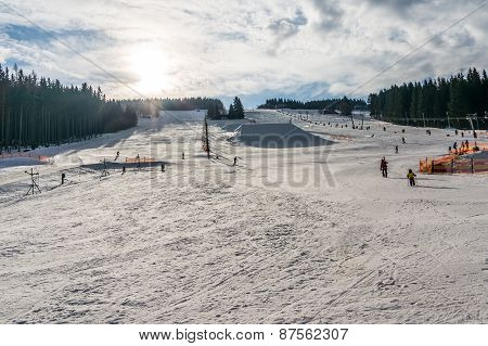 Snowy Ski Slope In The Czech Republic