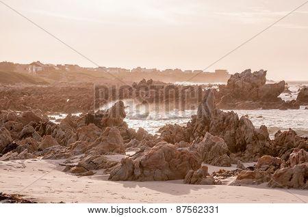 Natural Sepia Scene Of The Indian Ocean At Pringle Bay