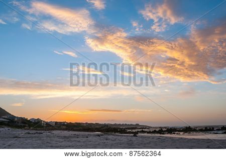 Indian Ocean At Pringle Bay At Sunset