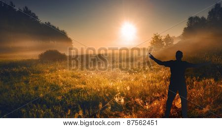 Meadow With Man Silhouette