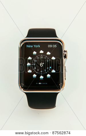 Apple Watch showing weather app