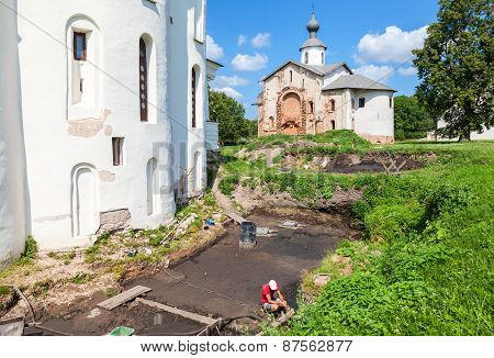 Archaeological Excavations At The Walls Of An Ancient Cathedral At The Yaroslav's Court In Veliky No
