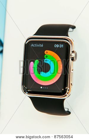 Apple Watch with health app on display