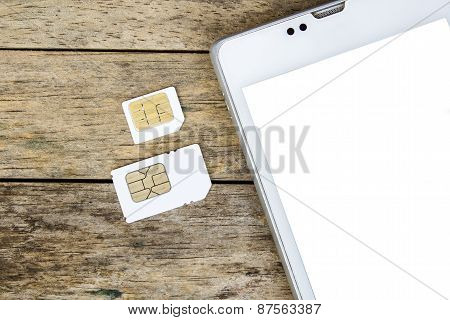 What's Type Of Sim Card Can Use On Your Mobile, Smart Phone, White Screen