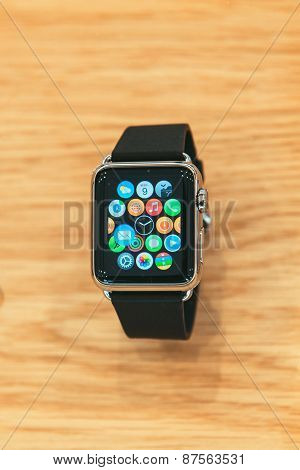 Apple Watch on luxury wooden background