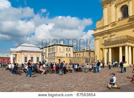 Saint-Petersburg. Russia. People in the Peter and Paul Fortress