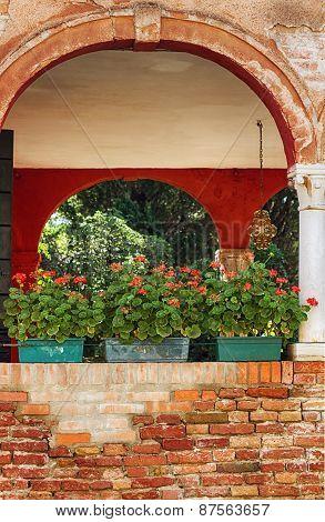 Decorative patio in Italy.