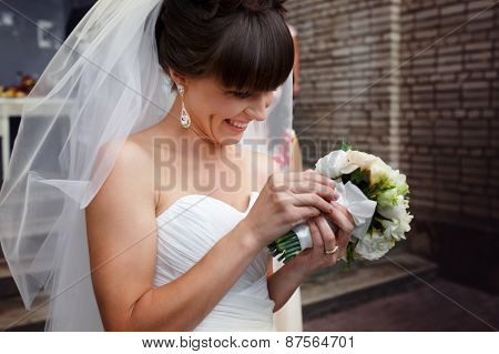 Wedding Portrait Of Beautiful Fashion Bride Close-up