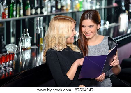 Friends have fun in bar