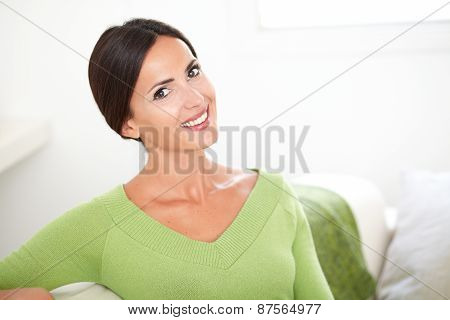 Cheerful Young Woman Looking At The Camera