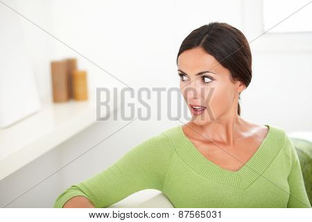 Beautiful Woman With Open Mouth Looking Shocked