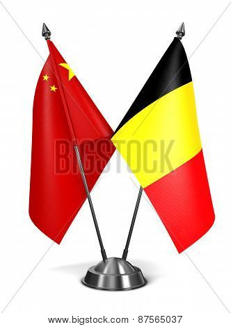 China and Belgium - Miniature Flags.
