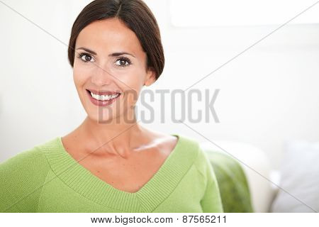 Cheerful Caucasian Woman Looking At The Camera