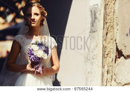 Bride Portrait Outdoors With Shadows