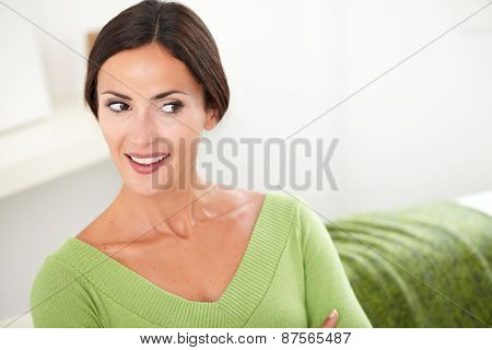 Smiling Woman With Brown Hair Looking Away