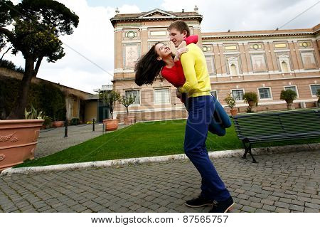 Loving Couple In The Garden Of The Vatican Museum In Rome Italy