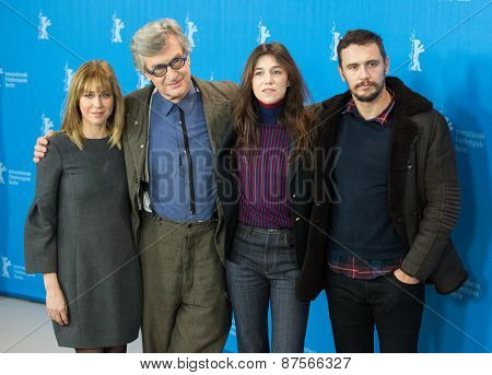 BERLIN, GERMANY - FEBRUARY 10: M. J. Croze, Wim Wenders, Charlotte Gainsbourg, J. Franco. 'Every Thing Will Be Fine' photocall . 65th Berlinale International Film Festival at Hyatt on February 10,2015
