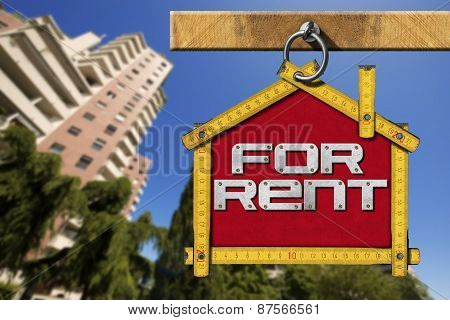 House For Rent Sign - Wooden Meter
