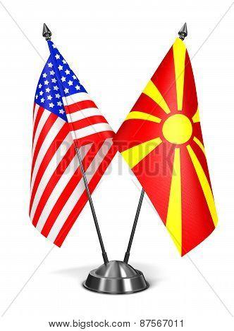 USA and Macedonia - Miniature Flags.