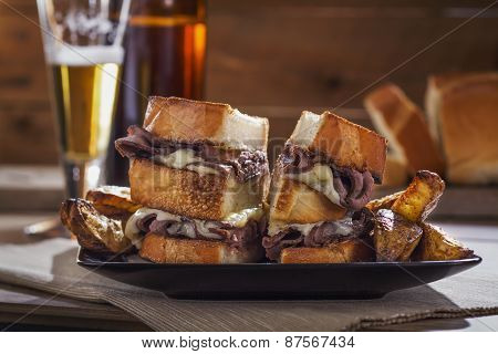 Roast Beef and Melted Cheese Sandwich