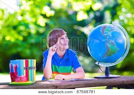 School Boy Doing Homework