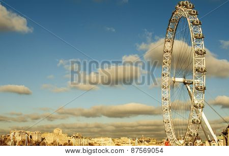 LONDON, UNITED KINGDOM - JANUARY 19: The London Eye on January 19, 2015 in London, United Kingdom. It is the tallest Ferris wheel in Europe with 135 meters high
