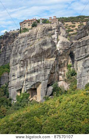 Monasteries On Top Of Meteora Rocks In Greece