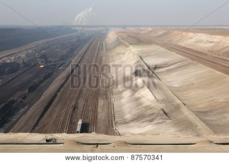 COTTBUS, GERMANY - MARCH 13, 2011: Open-pit coal mining Jaenschwalde near Cottbus, Lower Lusatia, Brandenburg, Germany.