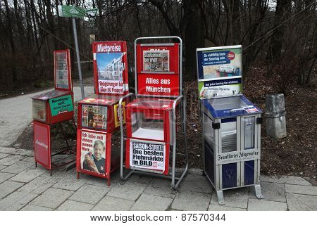 MUNICH, GERMANY - MARCH 4, 2012: Newspaper vending machines in Munich, Bavaria, Germany.