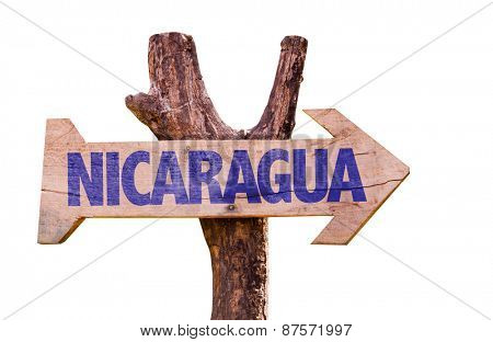 Nicaragua wooden sign isolated on white background