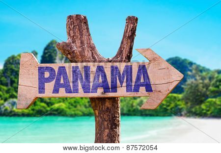 Panama wooden sign with beach background