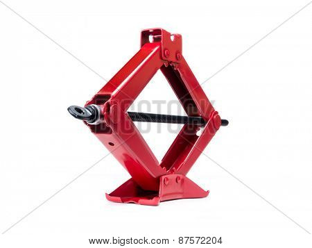 Red scissor jack shot on white