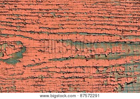 Wooden Plank With Cracked Paint