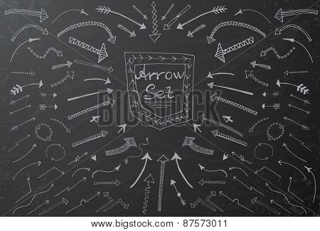Hand drawn arrow icons set on black chalk board. Vector Illustration