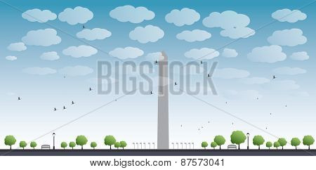 Washington Monument and cloud in blue sky Washington DC Vector illustration