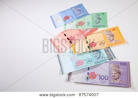 malaysia currency  one,five,ten,fifty and hundred ringgit