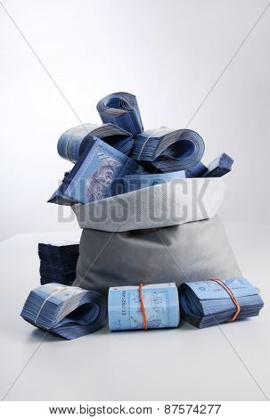 Bag of money with Malaysia ringgit bills