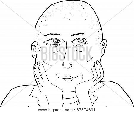 Outline Of Thinking Bald Female