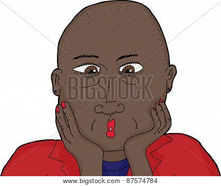 Isolated Surprised Bald Woman