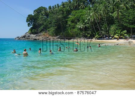 Holidaymakers Swimming In Bay Of Andaman Sea