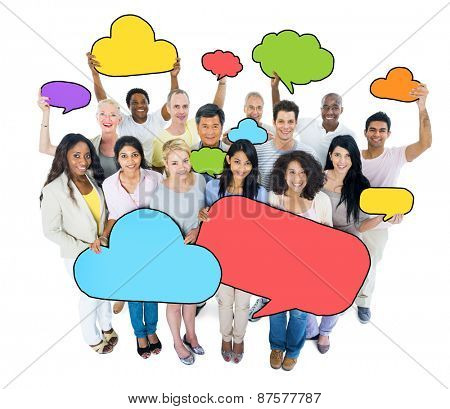 Multiethnic group of people wit Speech Bubbles